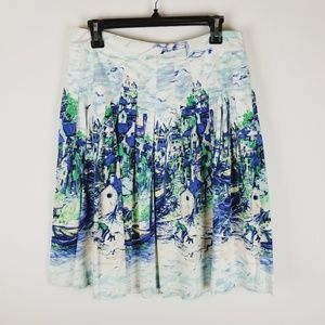 Talbots pleated city water scape full skirt size 8